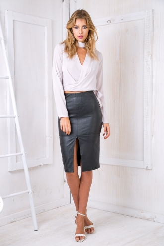 Maizy Leatherette skirt -Black