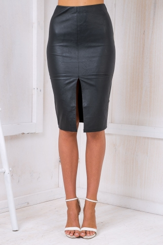 Maizy Leatherette skirt -Black-SALE