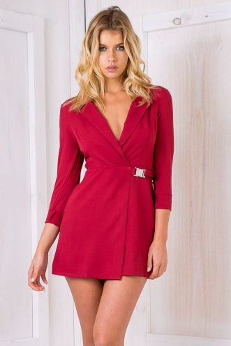 STELLY THE LABEL Cocktails with Khloe Blazer dress- Maroon Red SALE
