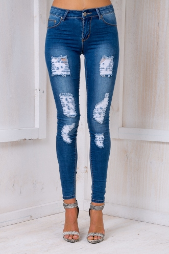 French Skinny Denim Jeans - Mid Blue