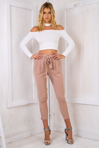 Jazzmine lace up pants - Beige