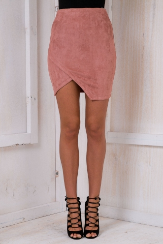 Sharp angles suede skirt - Dusty pink