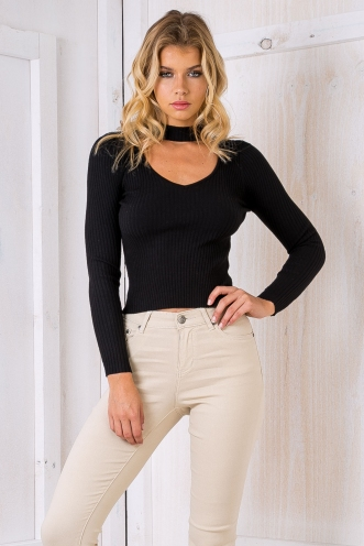 Jazzy ribbed long sleeve top - Black