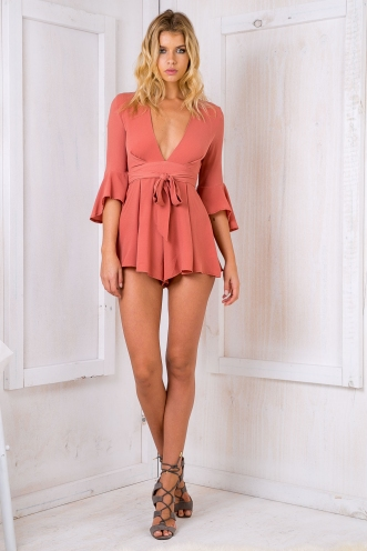 Lee Lee playsuit - Terracotta pink