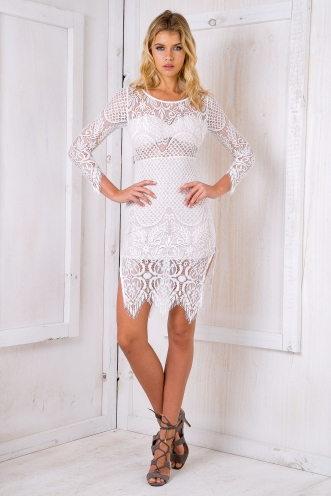 Destiny lace dress- White-SALE