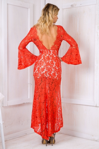 Lacey Love Evening Dress - Red