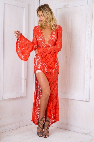 Lacey Love Evening Dress - Red-SALE