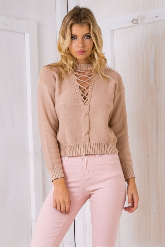 Hannah lace up jumper - Beige