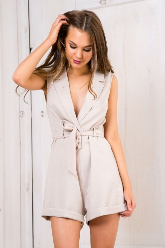 Broken Arrows Lapel Playsuit - Beige