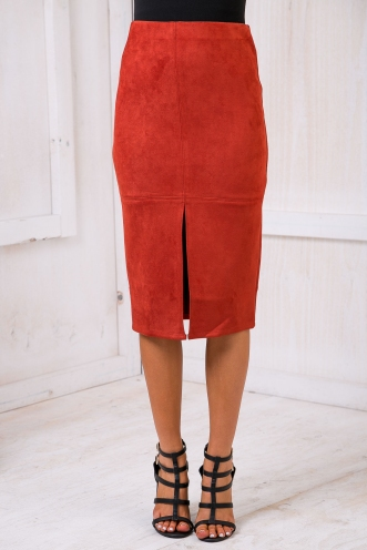 Maizy Suede skirt - Red-SALE