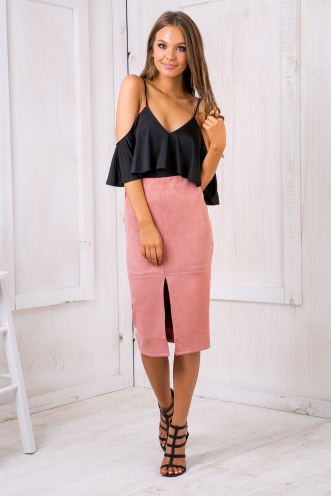 Maizy Seude skirt -Dusty pink