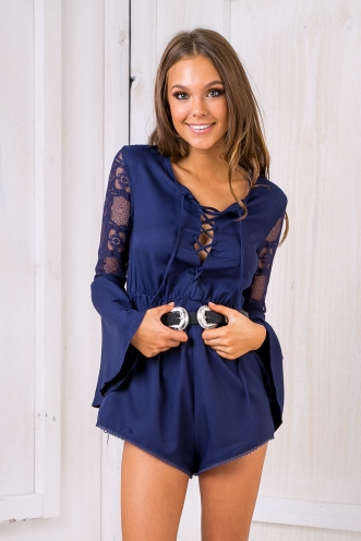 Cherry Lace Playsuit - Navy
