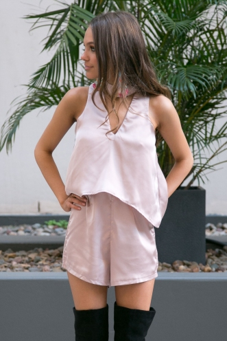 Ayla collar satin playsuit- Nude-SALE