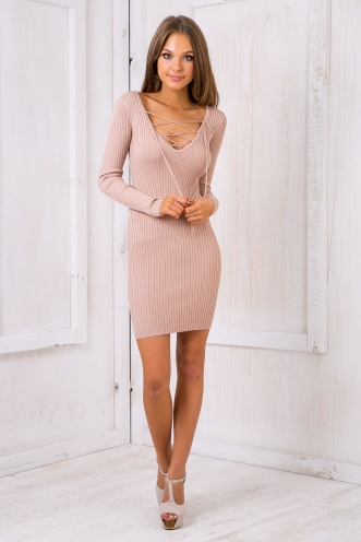Kimberly lace up bodycon dress - Nude