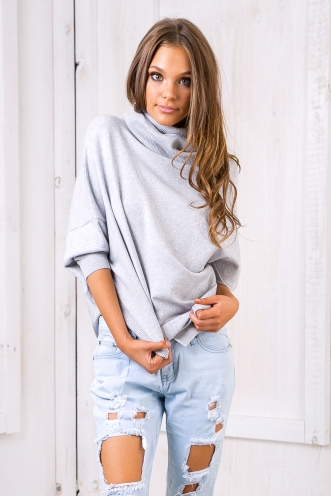 Nadiah poncho jumper -Light grey