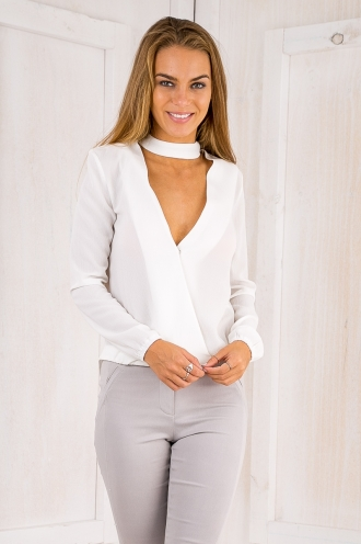 Shileena cross front top - White