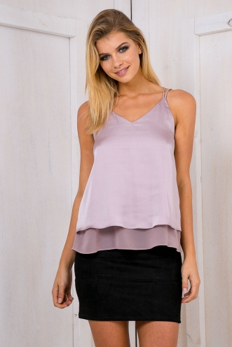 Luscious satin cami top - Dusty lilac