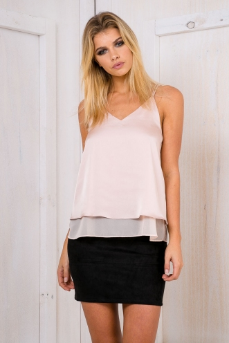 Luscious satin cami top - Nude SALE