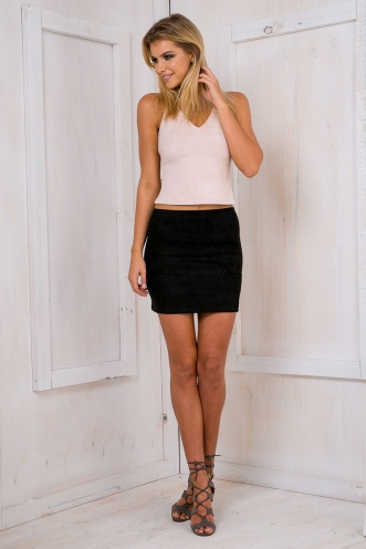 Catch Me If You Can Crop Top - Nude suede