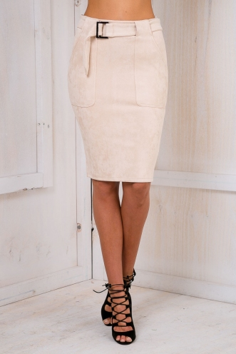 Suede seduction skirt - Beige-SALE