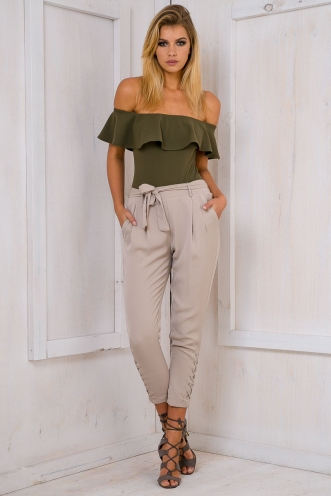 Jazzmine lace up pants - Grey