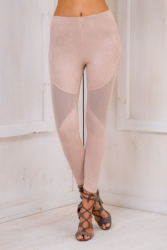 Harper suede tights - Beige