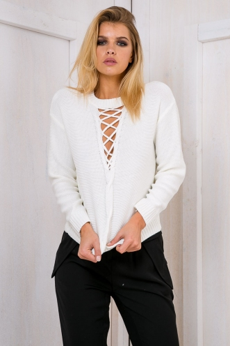 Hannah lace up jumper - White