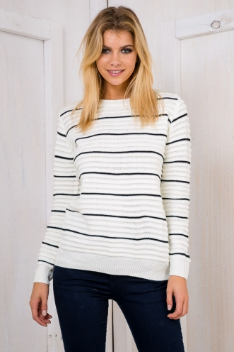 Danny jumper - White Black stripe