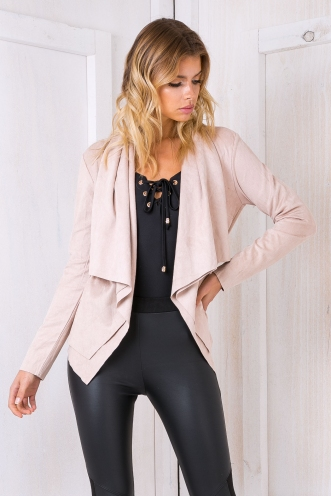 Lucy suede jacket - Nude