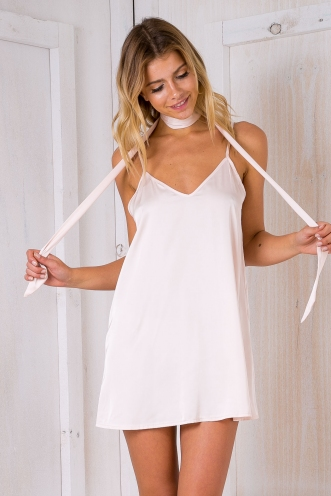 Tarry Satin slip dress- Nude