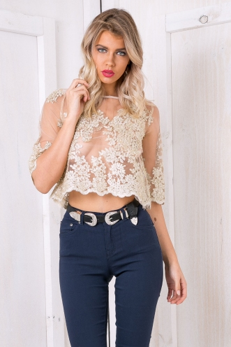 Addison lace tee shirt - Gold