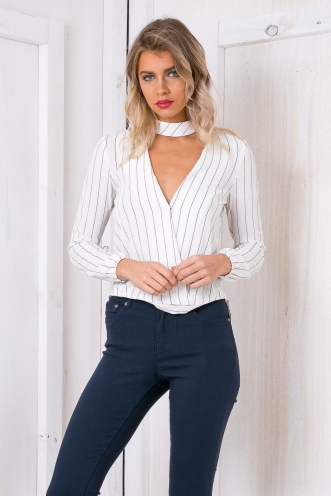 Emma neck collar shirt - White Stripe