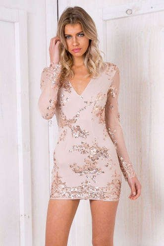 Harper bodycon mini sequin dress - Gold