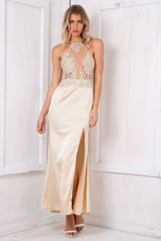 Cassidy lace evening dress - Gold