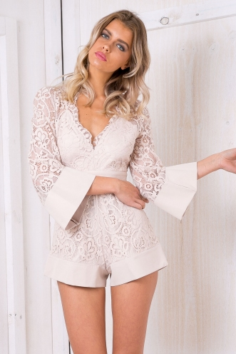 Mira lace playsuit - Beige