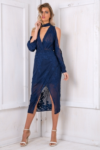 Alice embroidered dress - Navy