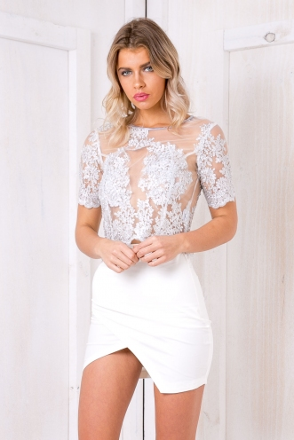 Addison fitted lace tee - Silver