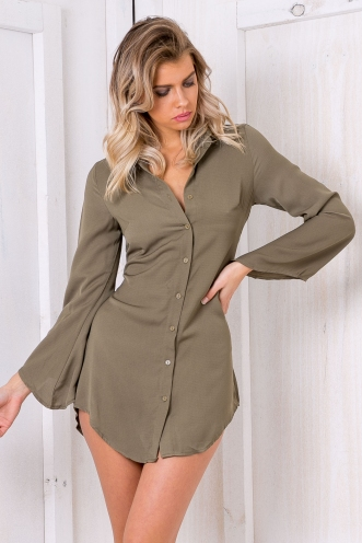Josie shift dress shirt- Khaki