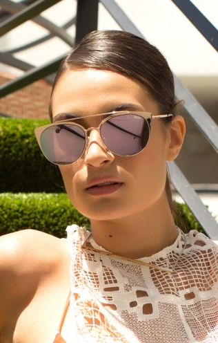 TELL ME WHY QUAY SUNGLASSES- GOLD/PINK