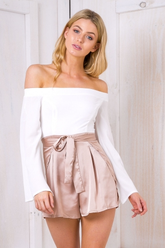 Kelsey playsuit - White/Beige Satin-SALE