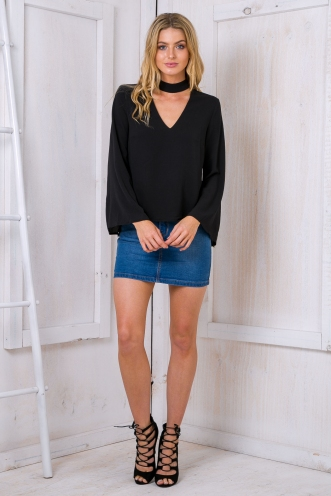 Kaitlyn collar blouse - Black