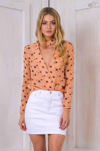 Emma neck collar shirt -Peach/Navy Stars