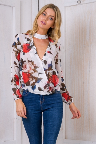 Emma neck collar shirt -White floral