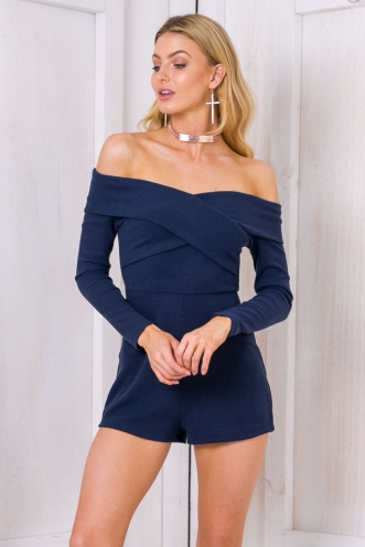 Kaitlin off the shoulder playsuit - Navy