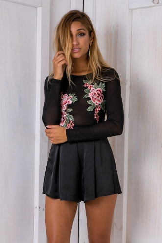 Aylah Embroidered playsuit - Black