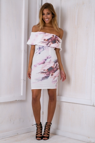 Stacey strapless dress - Pastel/White SALE