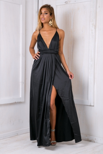 Agnes satin maxi dress - Black