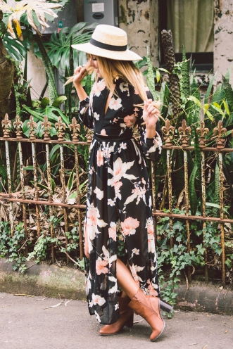 Olive Sheer floral maxi dress - Black
