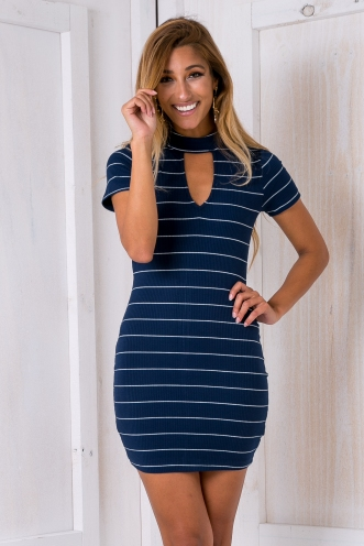 Dannie bodycon dress - Navy Stripe-SALE