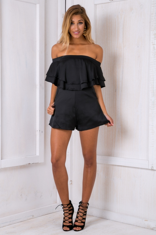 ba8b9878a2 Georgia strapless playsuit - Black-SALE - Stelly